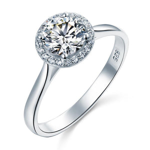 1.00ct Classic Round Cut Halo Diamond Engagement Ring, 925 Sterling Silver