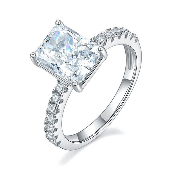 3.00ct Classic Radiant Cut Diamond Engagement Ring, 925 Sterling Silver