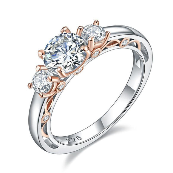 1.40ct Vintage Style Diamond 3 Stone Engagement Ring, 925 Silver
