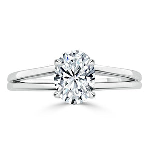 Lab-Diamond Oval Cut Engagement Ring, Classic Style with Split Shank, Choose Your Stone Size and Metal