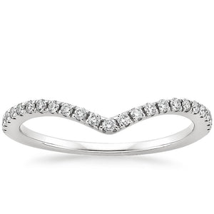 0.25ct Moissanite Wedding Band, Delicate Half Eternity Ring, Wish Bone Ring, Available in White Gold, Yellow Gold, Rose Gold or Platinum