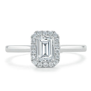 Lab-Diamond Emerald Cut Halo Engagement Ring, Choose Your Stone Size and Metal