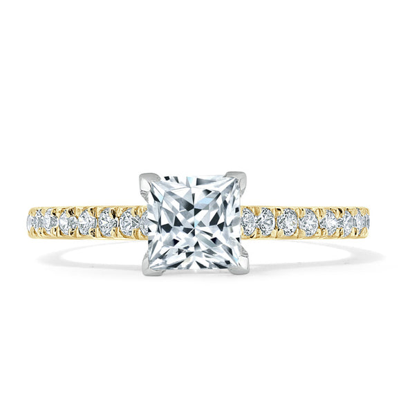 1.00ct  Princess Cut Moissanite Engagement Ring, Classic Style,  Available in White Gold, Platinum, Rose Gold or Yellow Gold