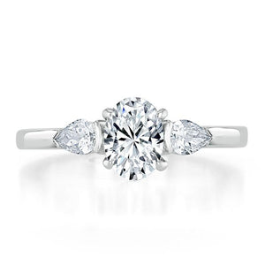 1.30ct  Oval Cut Moissanite 3 stone Engagement Ring,  Available in White Gold, Platinum, Rose Gold or Yellow Gold