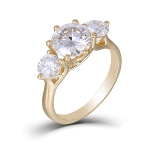 3.50ct Round Cut Moissanite Engagement Ring, Vintage Design, Available in 14Kt or 18Kt Yellow Gold