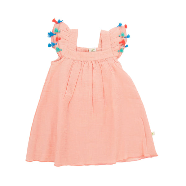 Apricot Blush Tassel Baby Dress made from Organic Cotton
