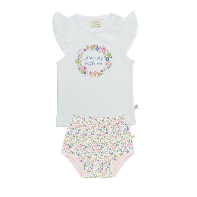 Organic Cotton Baby Cap Slv Tee Set - Summer Flowers