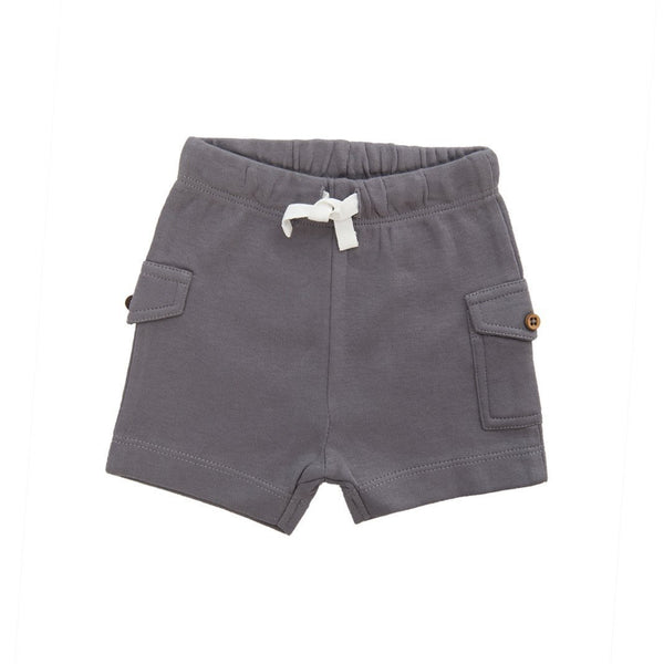 Organic Cotton Baby Comfy Shorts - Soft Grey