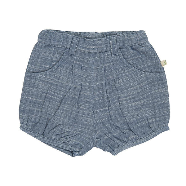 Organic Cotton Baby Shorts - BLUE CHAMBRAY