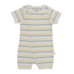 Organic Cotton Baby Zipsuit - Banana Stripes