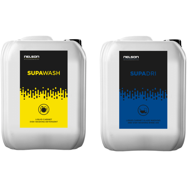 Commercial Dishwasher Detergent & Rinse-aid: Supawash x 3 Units & Supadri x 1 Unit - Nelson Dish & Glasswashing Machines