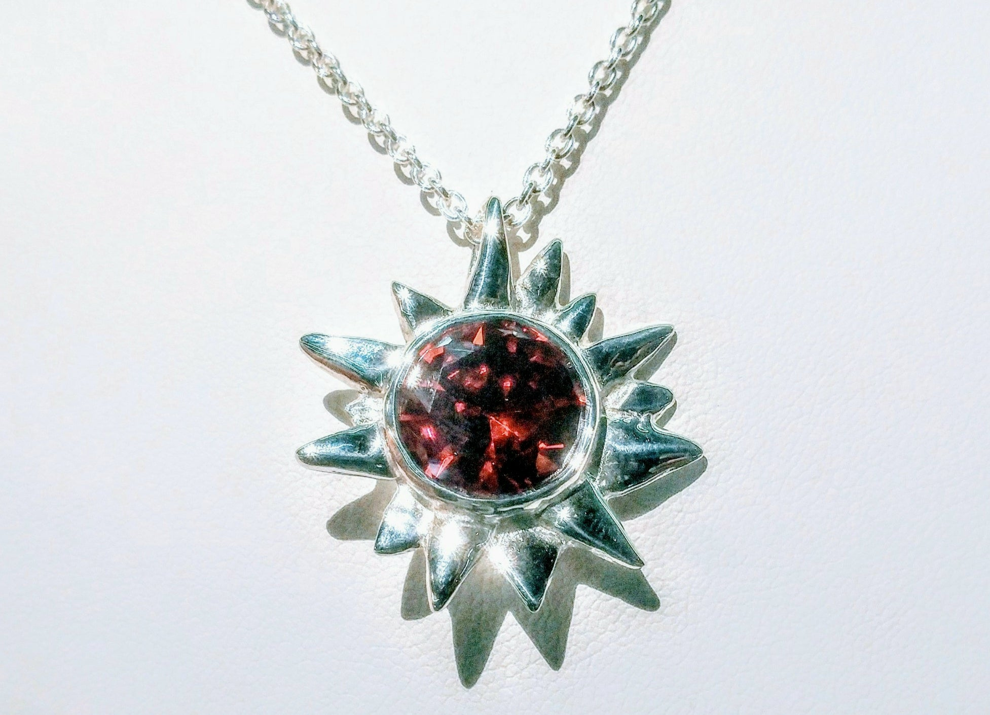 Starburst Pendant Red Topaz
