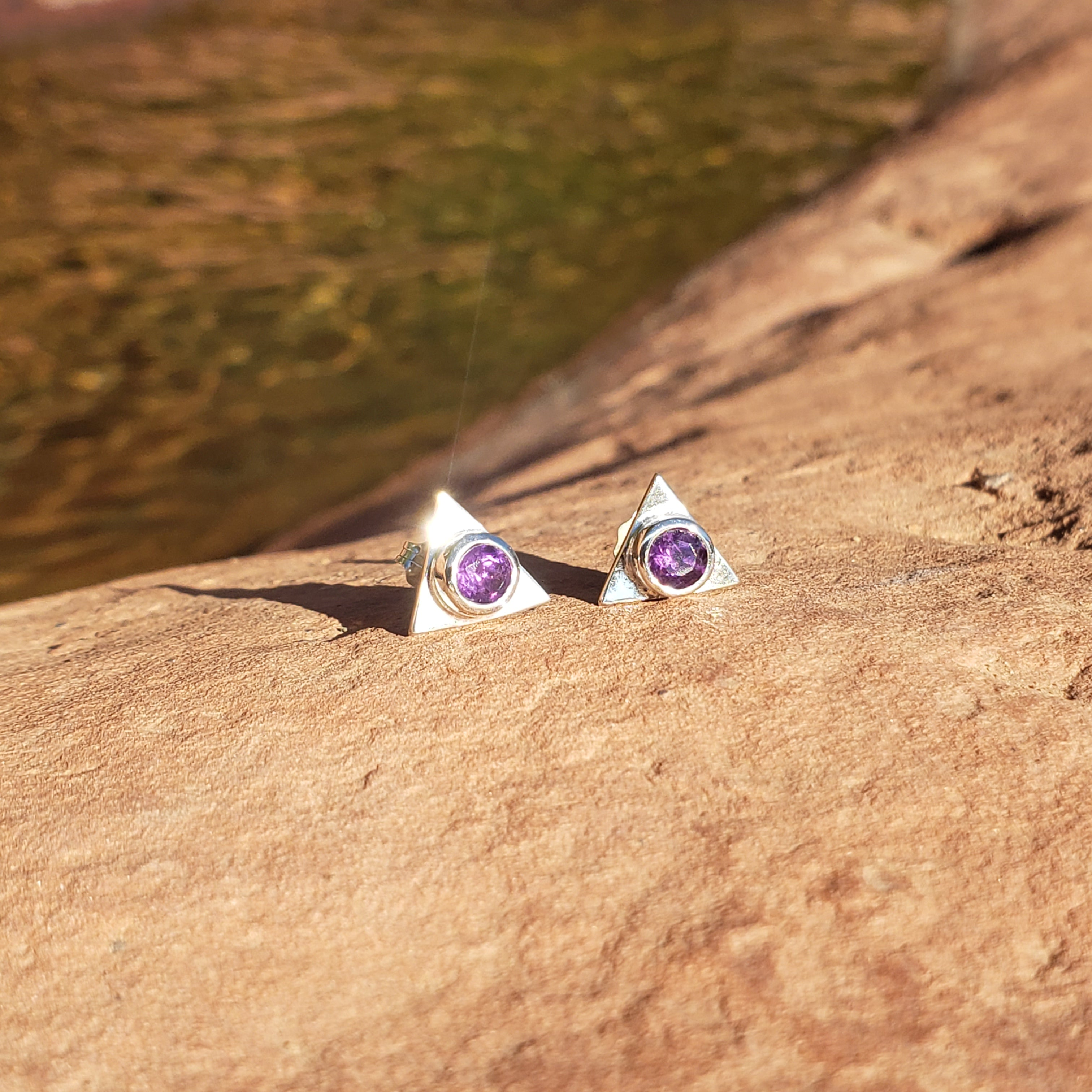 Triangle Fine Sterling Stud Earrings in Amethyst