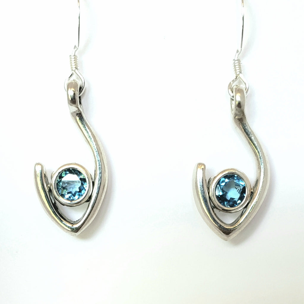 Medium Flame dangle Earring blue topaz