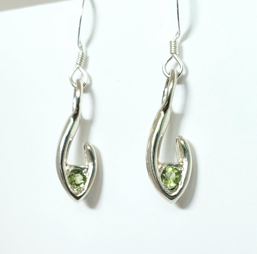 Small Flame dangle earrings 4mm green peridot