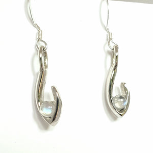 Small Flame dangle earrings moonstone