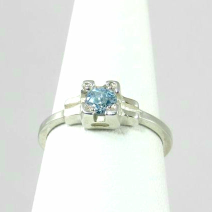Embrace ring , stackable blue topaz