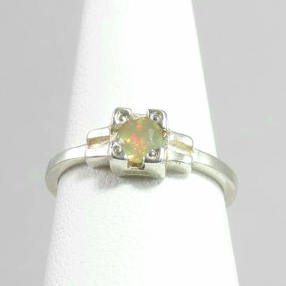 Embrace Ring, stackable rainbow opal