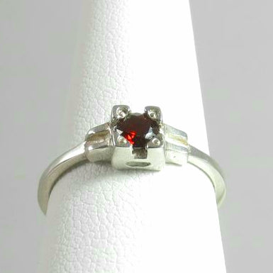Embrace Ring, stackable red garnet