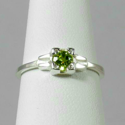 Embrace  Ring, stackable green peridot