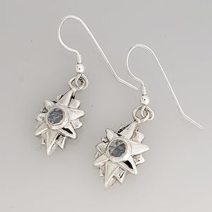 Starburst Dangle Earrings - Moonstone