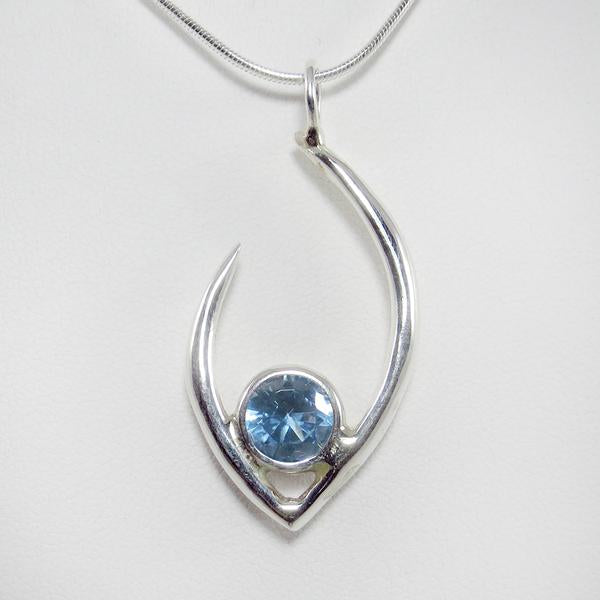 Flame of Life Pendant with Blue Topaz Stone