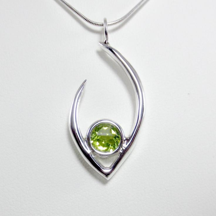 Flame of Life Pendant with Green Peridot Stone