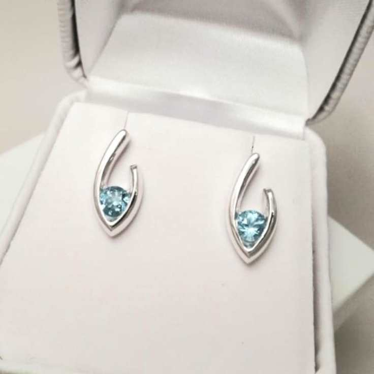 Small Flame of Life earring studs blue topaz