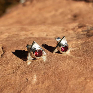 Triangle Fine Sterling Stud Earrings in Red Garnet