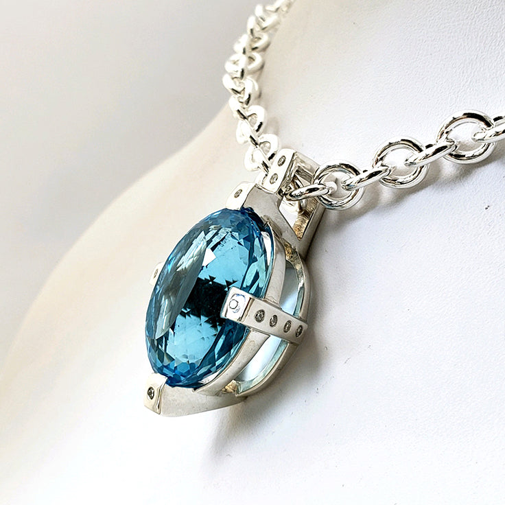 Treasures Blue Topaz Royal 4 Prong Pendant