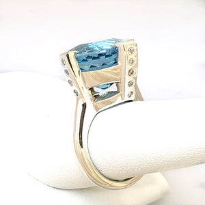 Treasures Blue Topaz Royal 4 Prong Ring