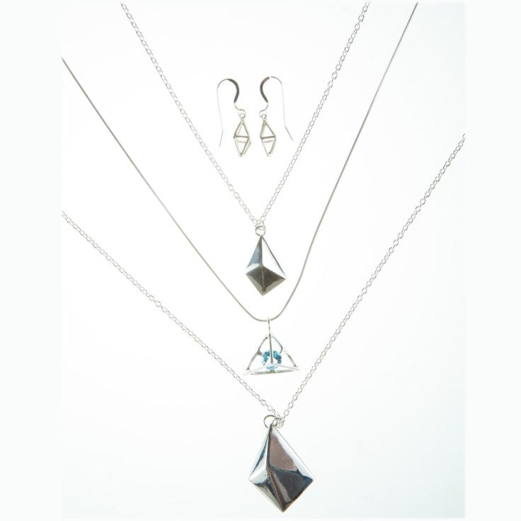 Octahedron Cage Earring,  without stones
