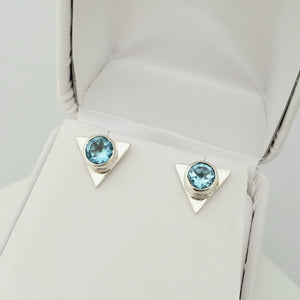 Triangle Fine Sterling Stud Earrings in Blue Topaz