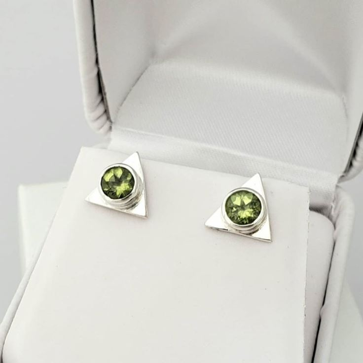 Triangle Fine Sterling Stud Earrings in Green Peridot
