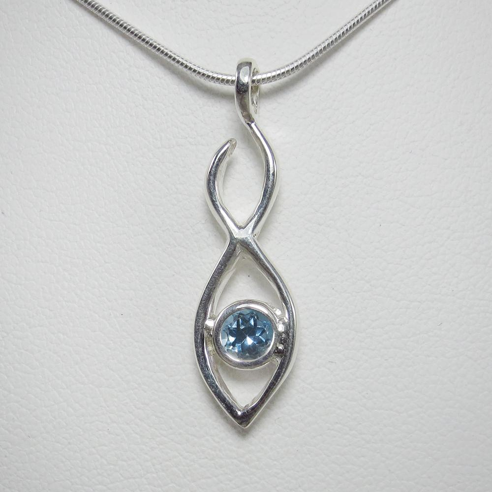 Twin Flame Pendant with Swiss Blue Topaz