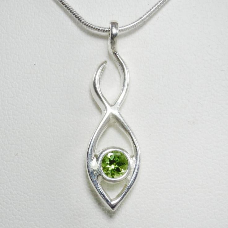 Twin Flame Pendant with Green Peridot Stone