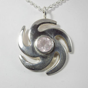 Vortex Large Pendant with Rose Quartz