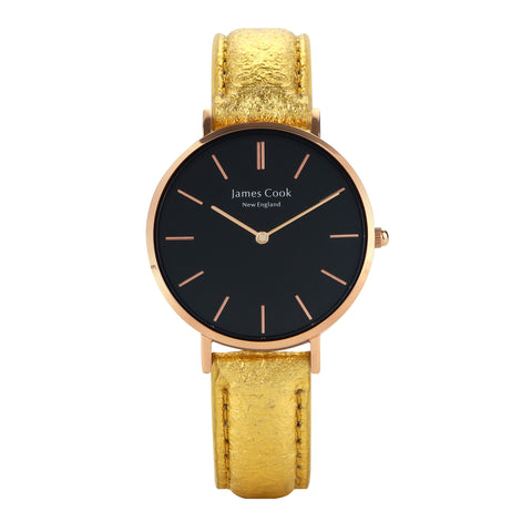 Heritage Black Piñatex Gold Feminino 32mm