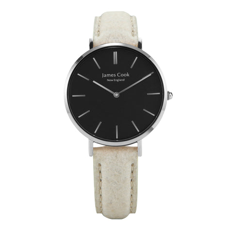 Heritage Black Piñatex Natural Feminino Prata 32mm