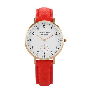 Bay Piñatex Paprika Feminino Rosé Gold 32mm