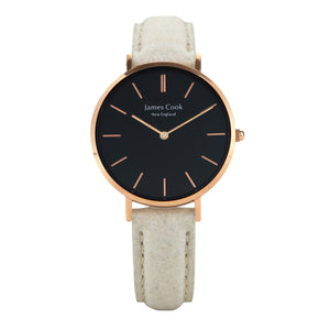 Heritage Black Piñatex Natural Feminino Rosé Gold 32mm