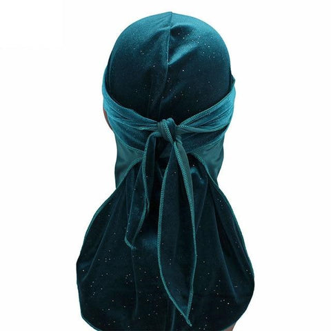 Durag bleu clair velours brillant strass - Durag-Shop