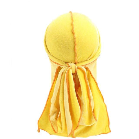 Durag jaune velours coutures oranges - Durag-Shop