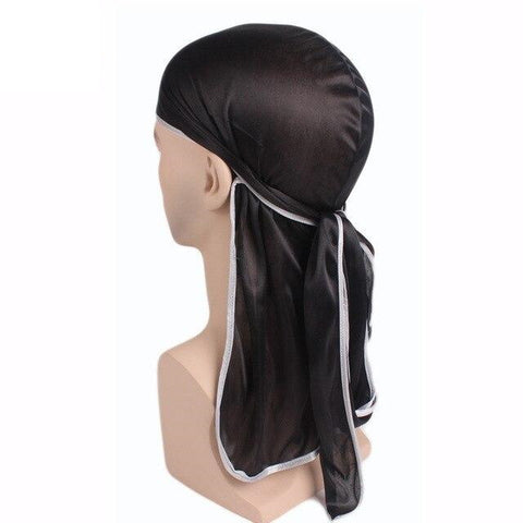Durag noir bordures blanches - Durag-Shop