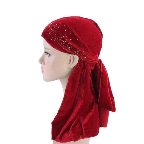 Durag rouge velours strass - Durag-Shop