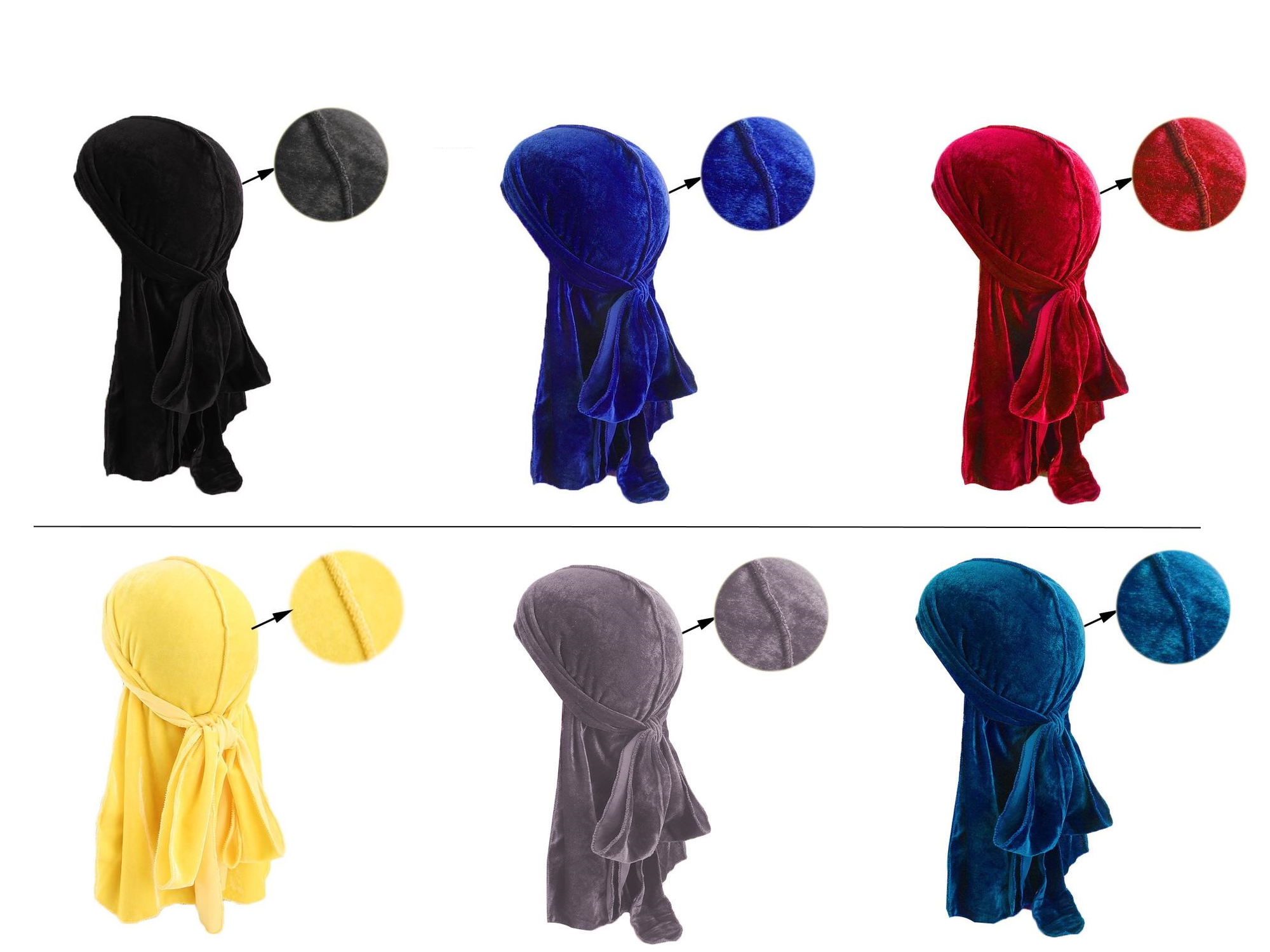 Lot de 6 durag velours - Durag-Shop