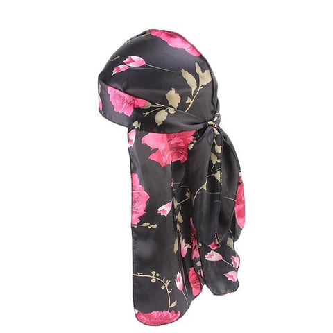 Black durag with flowers - Durag-Shop