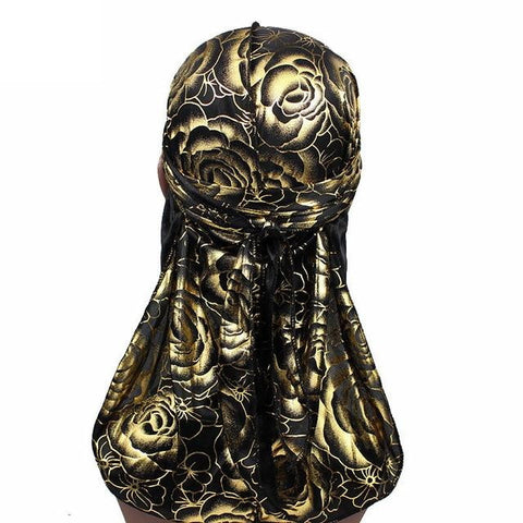 Black and golden durag with flowers - Durag-Shop