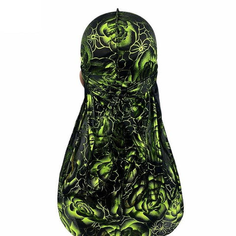 Black and green durag with flowers - Durag-Shop