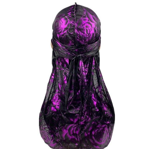 Black and purple durag with flowers - Durag-Shop